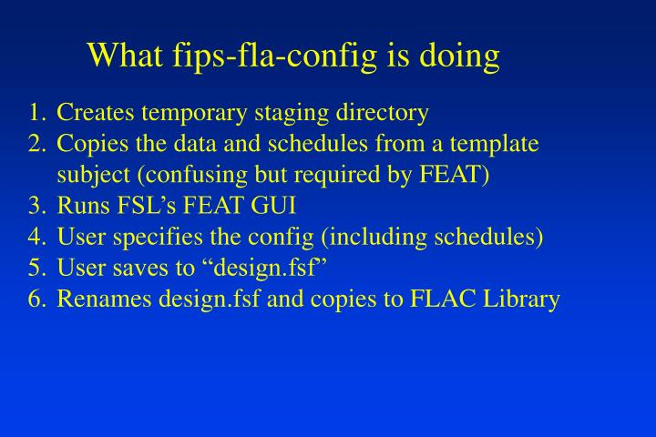 What fips-fla-config is doing