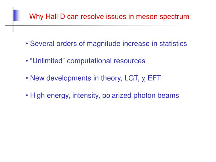 Why Hall D can resolve issues in meson spectrum