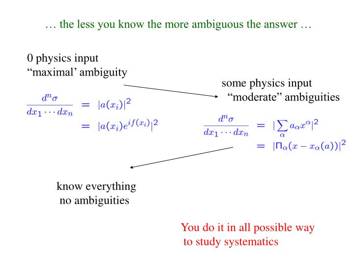 … the less you know the more ambiguous the answer …