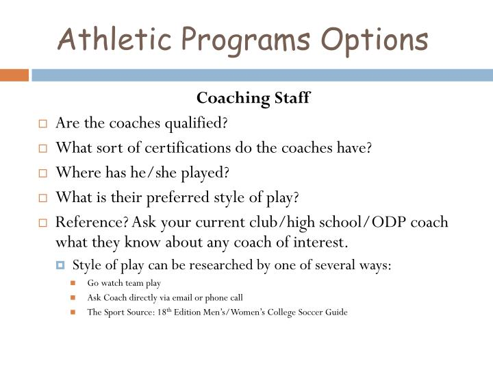 Athletic Programs Options