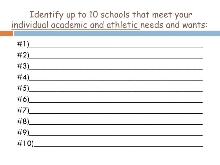 Identify up to 10 schools that meet your