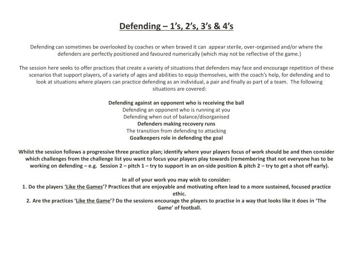 Defending – 1's, 2's, 3's & 4's