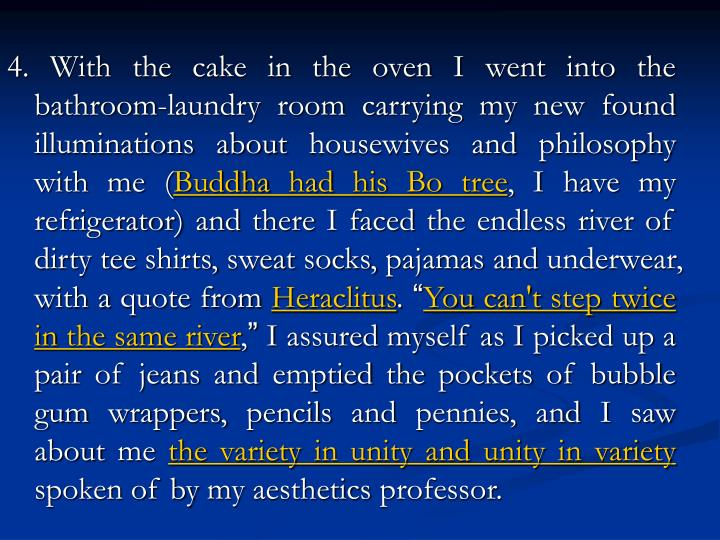 4. With the cake in the oven I went into the bathroom-laundry room carrying my new found illuminations about housewives and philosophy with me (