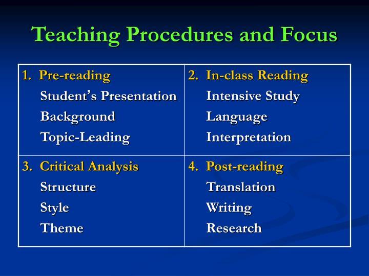 Teaching Procedures and Focus