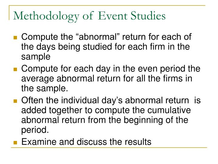 Methodology of Event Studies