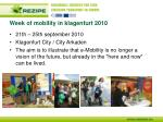 week of mobility in klagenfurt 2010