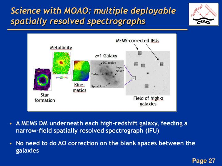 Science with MOAO: multiple deployable spatially resolved spectrographs