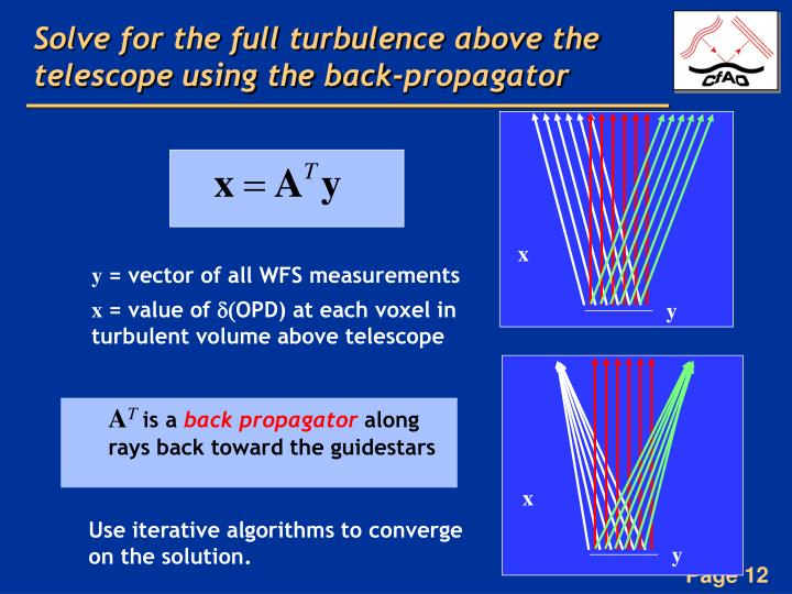 Solve for the full turbulence above the telescope using the back-propagator