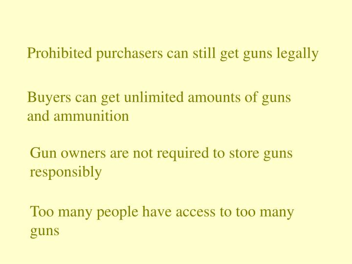Prohibited purchasers can still get guns legally