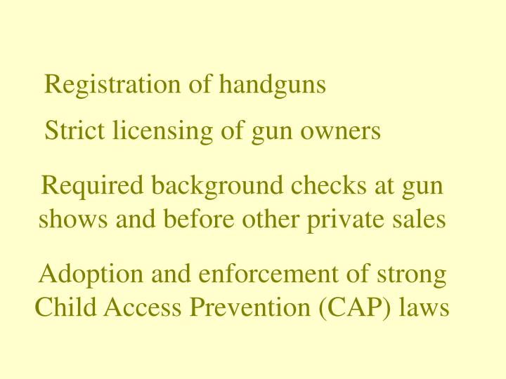 Registration of handguns