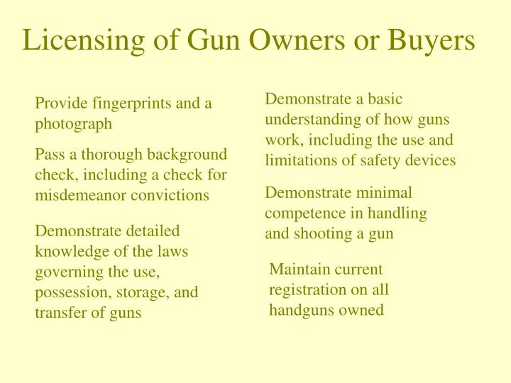 Licensing of Gun Owners or Buyers