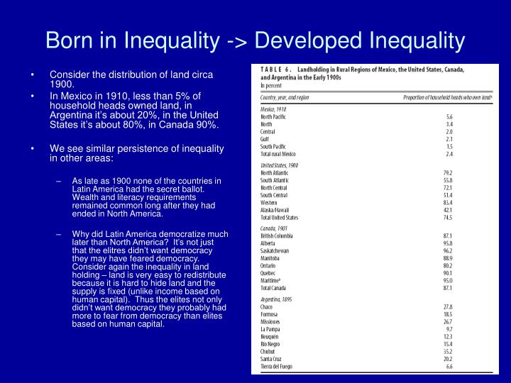 Born in Inequality -> Developed Inequality
