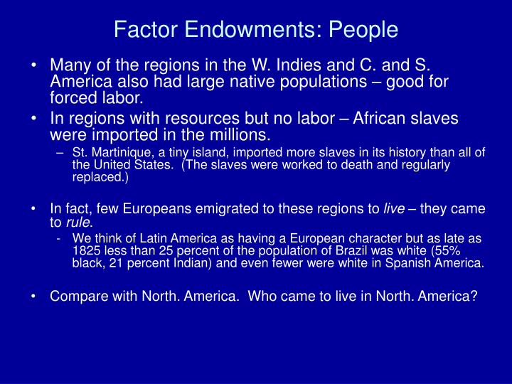 Factor Endowments: People