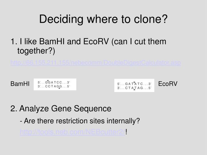 Deciding where to clone?