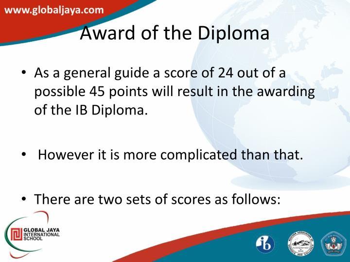 Award of the Diploma