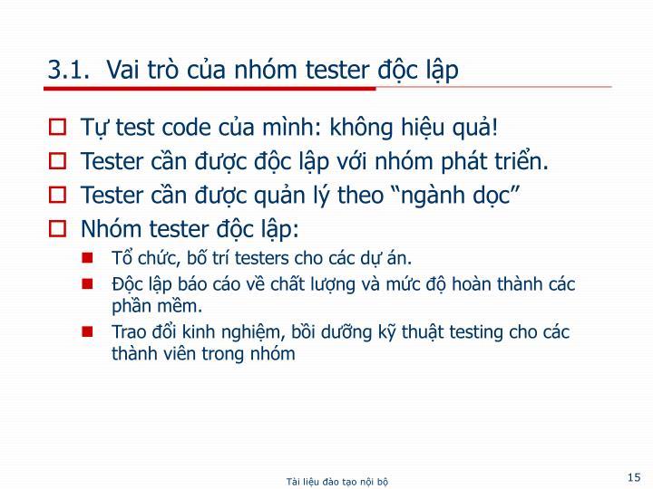 3.1.  Vai trò của nhóm tester độc lập