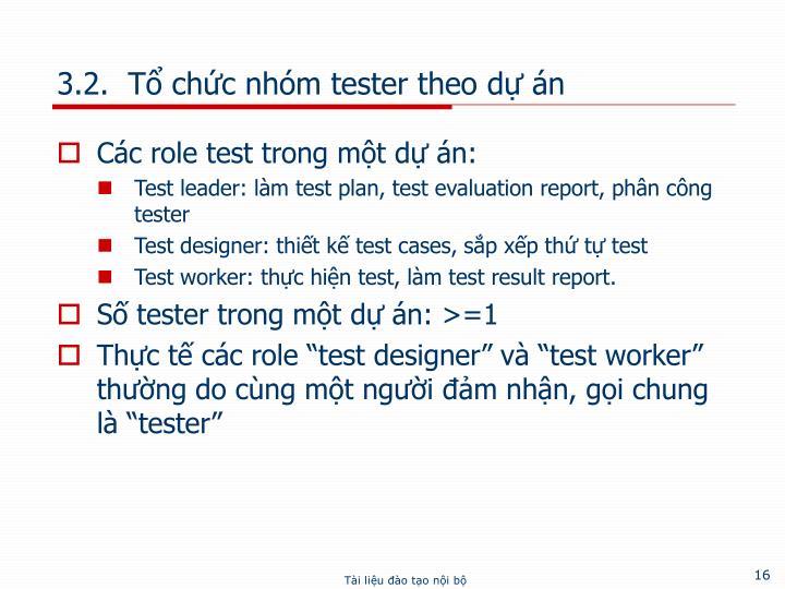 3.2.  Tổ chức nhóm tester theo dự án