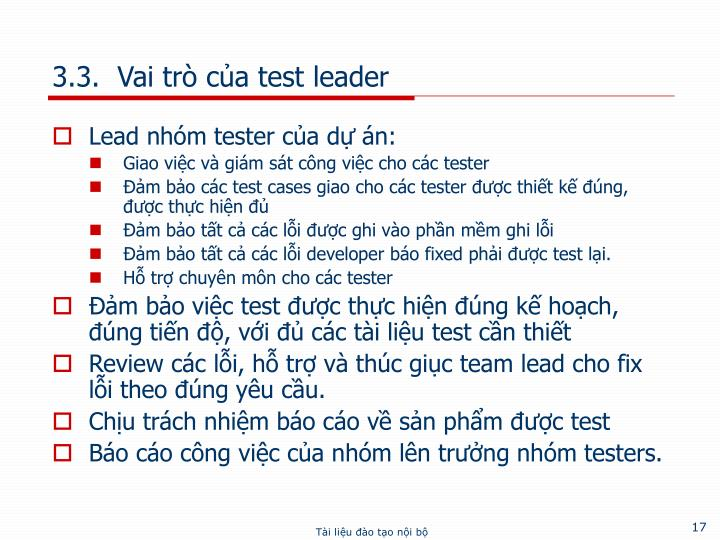 3.3.  Vai trò của test leader