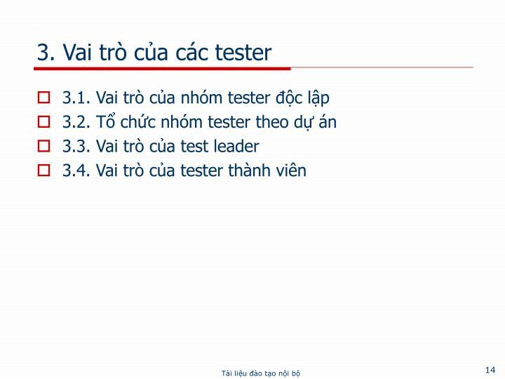 3. Vai trò của các tester
