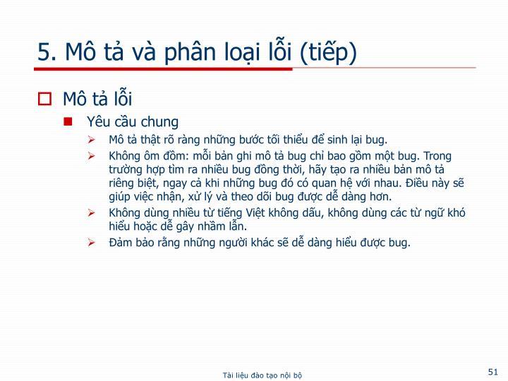 5. Mô tả và phân loại lỗi (tiếp)