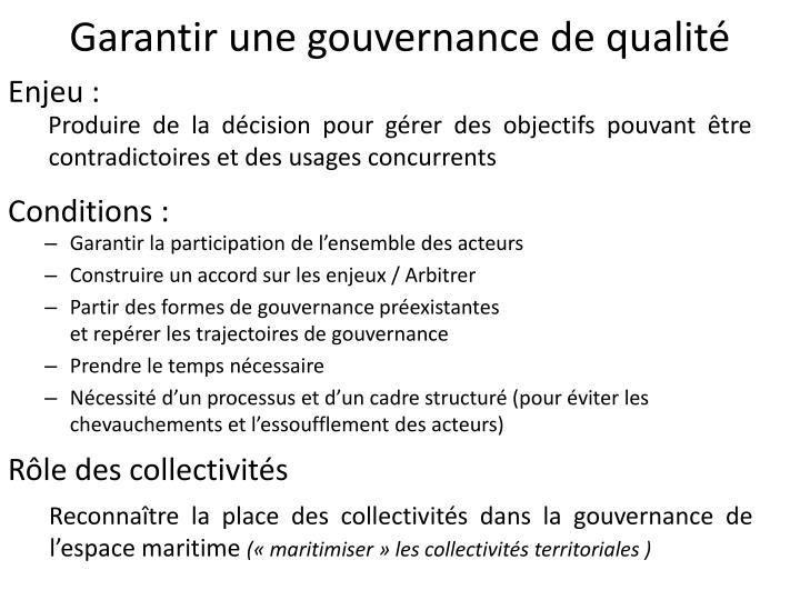 Garantir une gouvernance de qualité