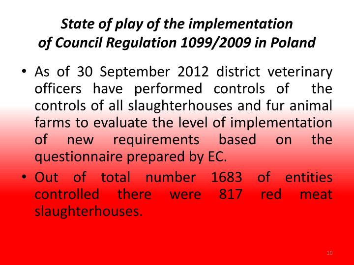 State of play of the implementation