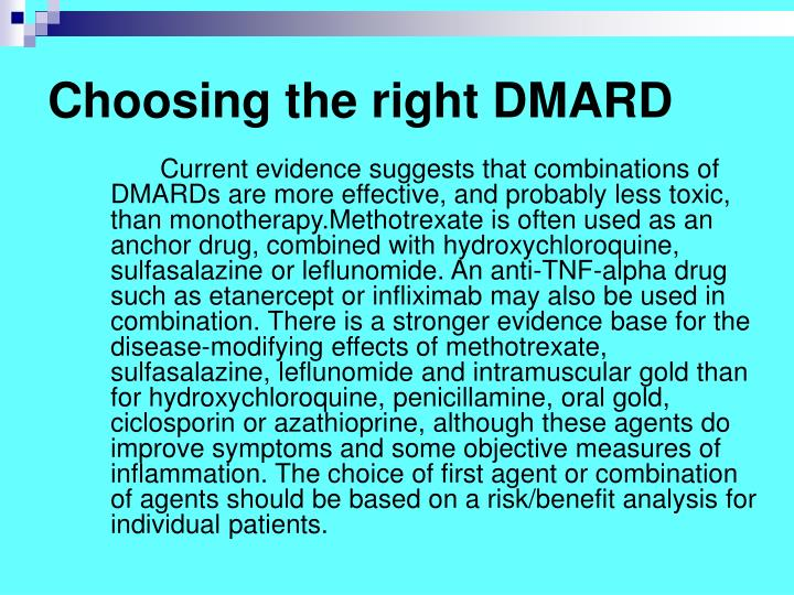 Choosing the right DMARD