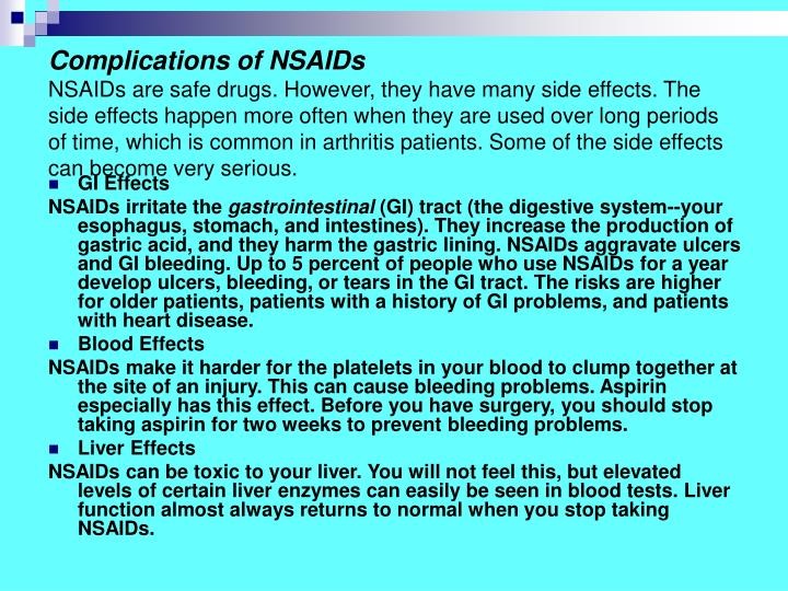 Complications of NSAIDs