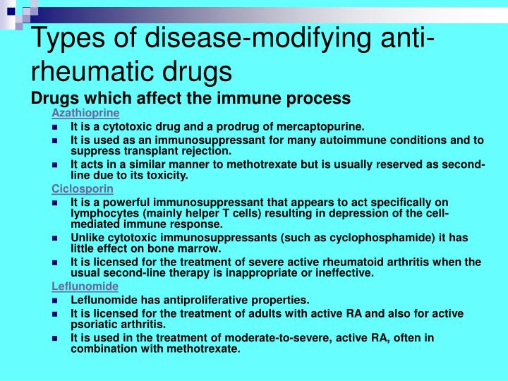 Types of disease-modifying anti-rheumatic drugs