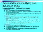 types of disease modifying anti rheumatic drugs drugs which affect the immune process1
