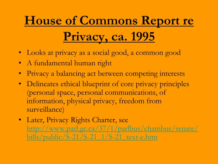 House of Commons Report re Privacy, ca. 1995
