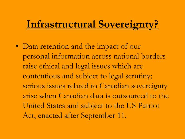 Infrastructural Sovereignty?