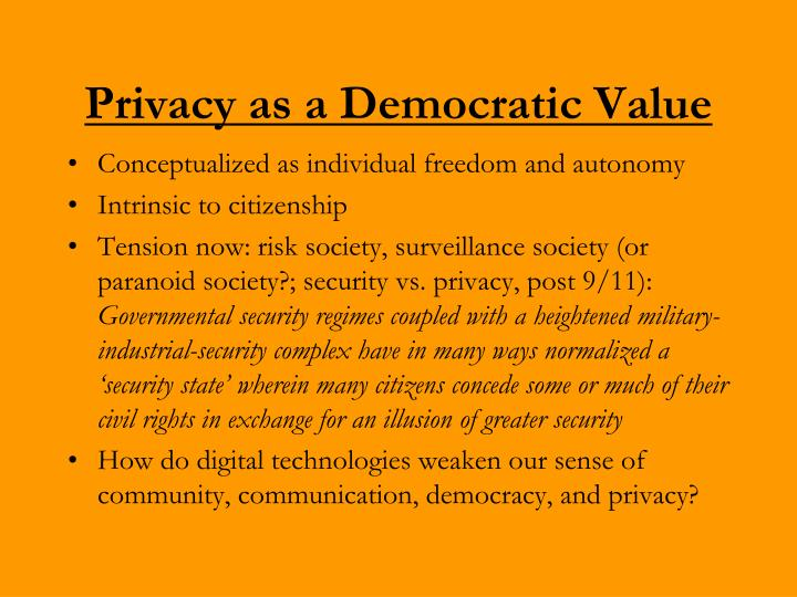 Privacy as a Democratic Value