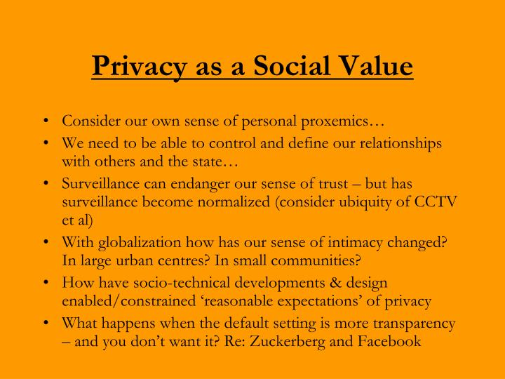 Privacy as a Social Value