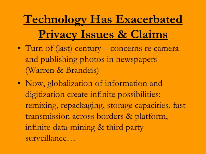 Technology Has Exacerbated Privacy Issues & Claims