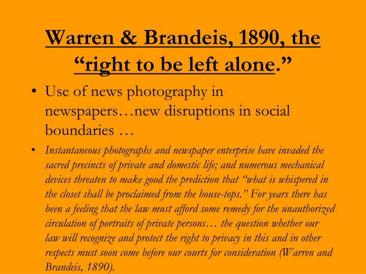 Warren & Brandeis, 1890, the