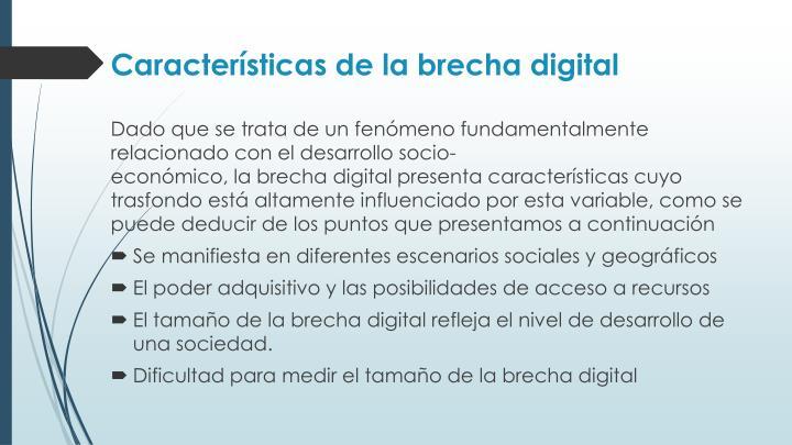 Características de la brecha digital
