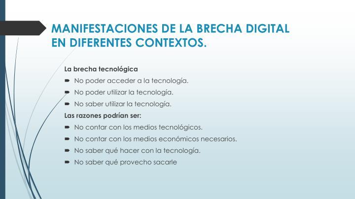 MANIFESTACIONES DE LA BRECHA DIGITAL EN DIFERENTES CONTEXTOS.