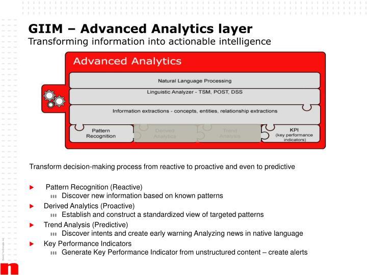 GIIM – Advanced Analytics layer