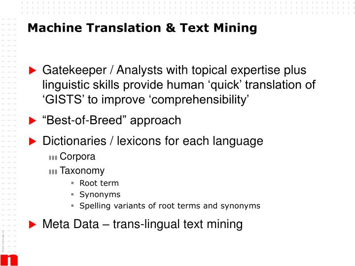 Machine Translation & Text Mining