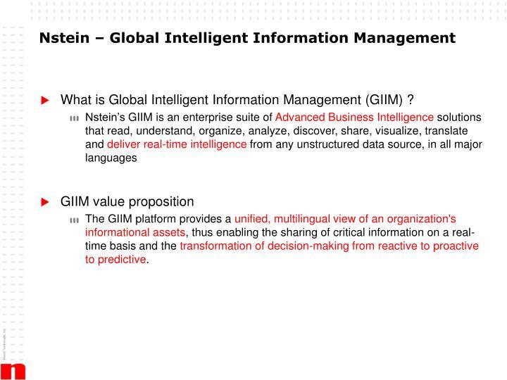 Nstein – Global Intelligent Information Management
