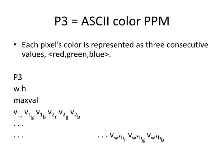 P3 = ASCII color PPM