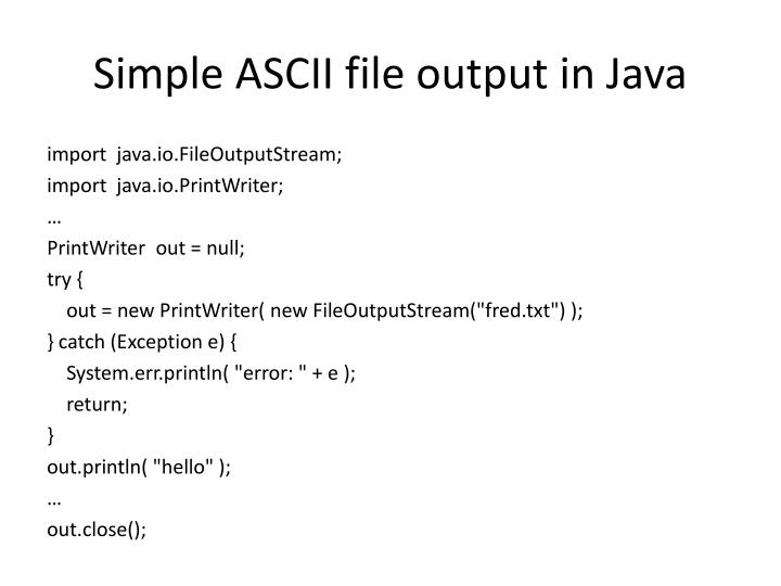 Simple ascii file output in java