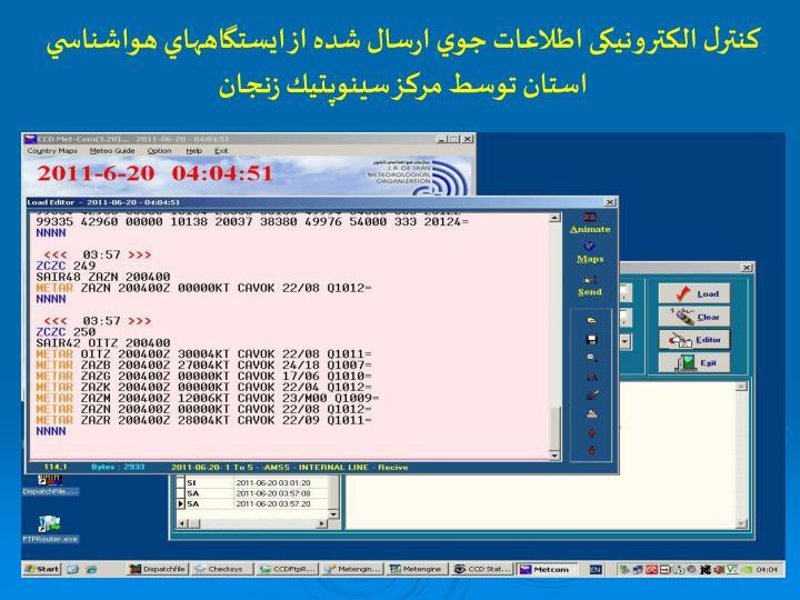 كنترل الکترونیکی اطلاعات جوي ارسال شده از ايستگاههاي هواشناسي استان توسط مرکز سينوپتيك زنجان