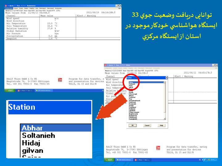 توانایی دريافت وضعيت جوي 33 ايستگاه هواشناسي خودكار موجود در استان از ايستگاه مركزي