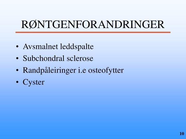 RØNTGENFORANDRINGER