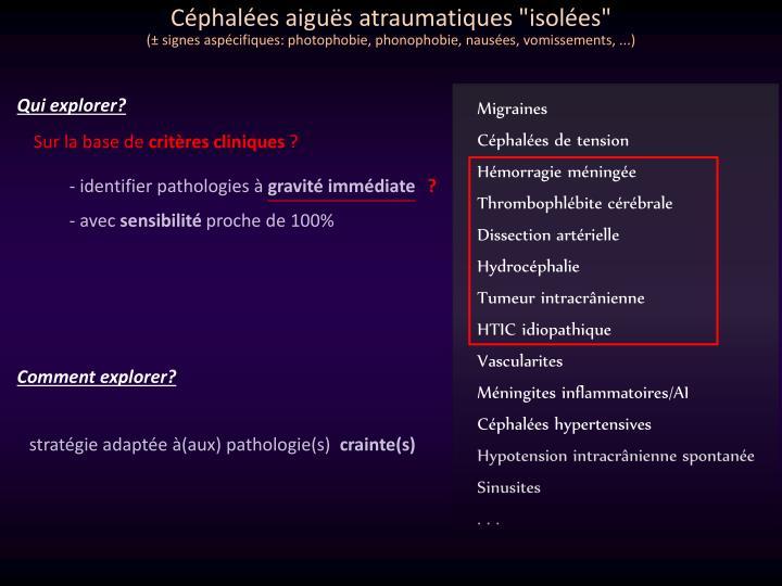 Céphalées aiguës