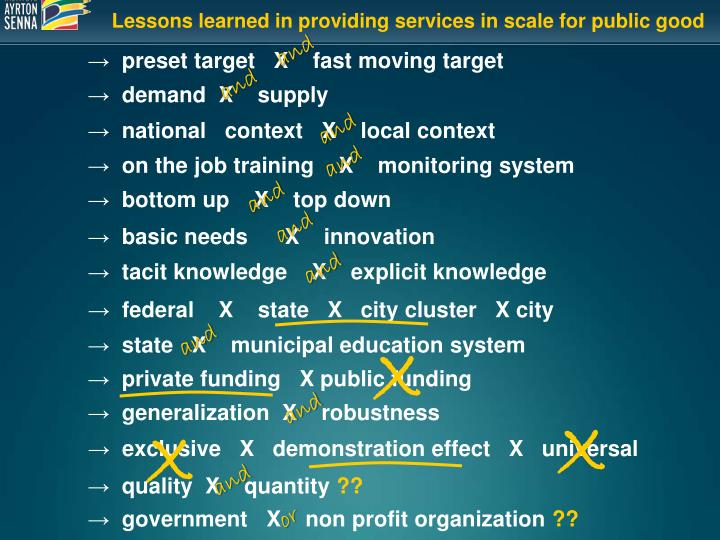 Lessons learned in providing services in scale for public good