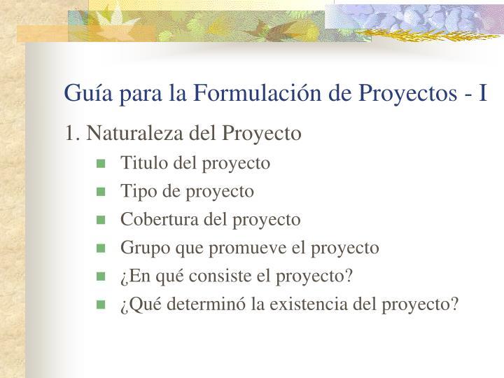 Guía para la Formulación de Proyectos - I