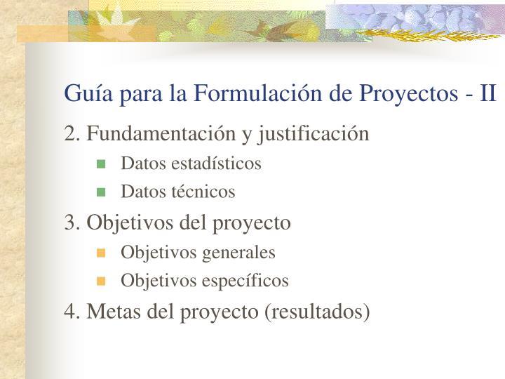Guía para la Formulación de Proyectos - II